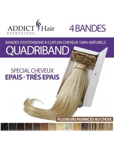 EXTENSIONS à Clips QUADRI-BAND (4 Bandes) Cheveux 100% Naturels Remy Hair AAA+
